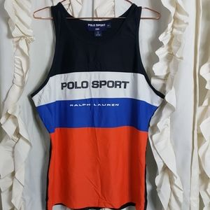 Vintage Polo Sport spell out tank top colorblock
